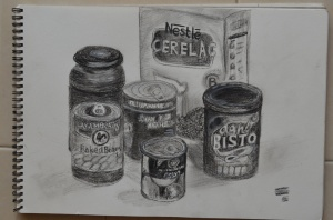 1st rawing with charcoal and Pencil