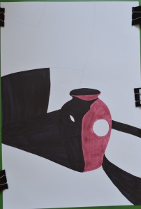 drawing in the style of in the chair that I would patrick caulfield