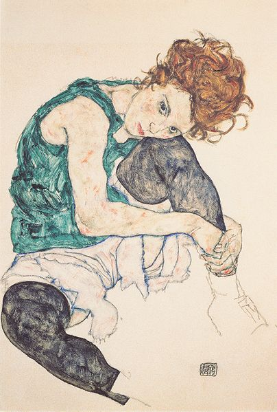 Egon Schiele - Seated Woman with Bent Kneee 1917