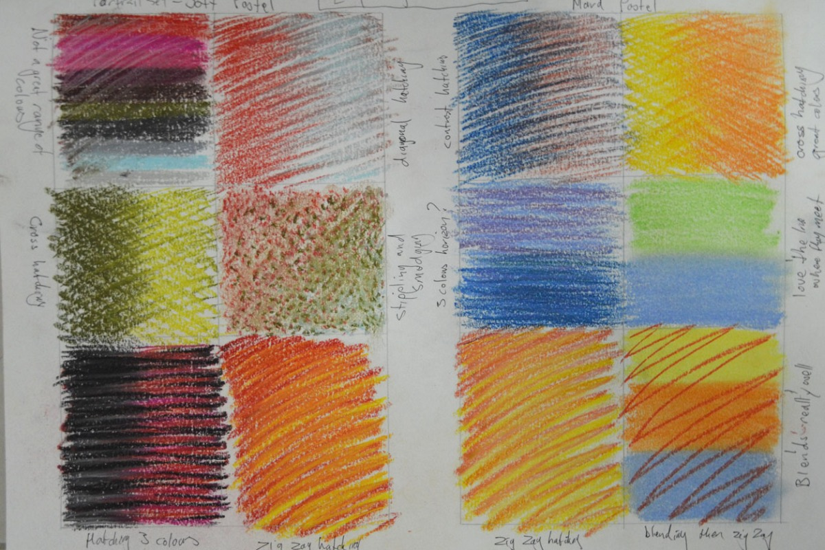 exploring coloured media - Soft and Hard Pastel