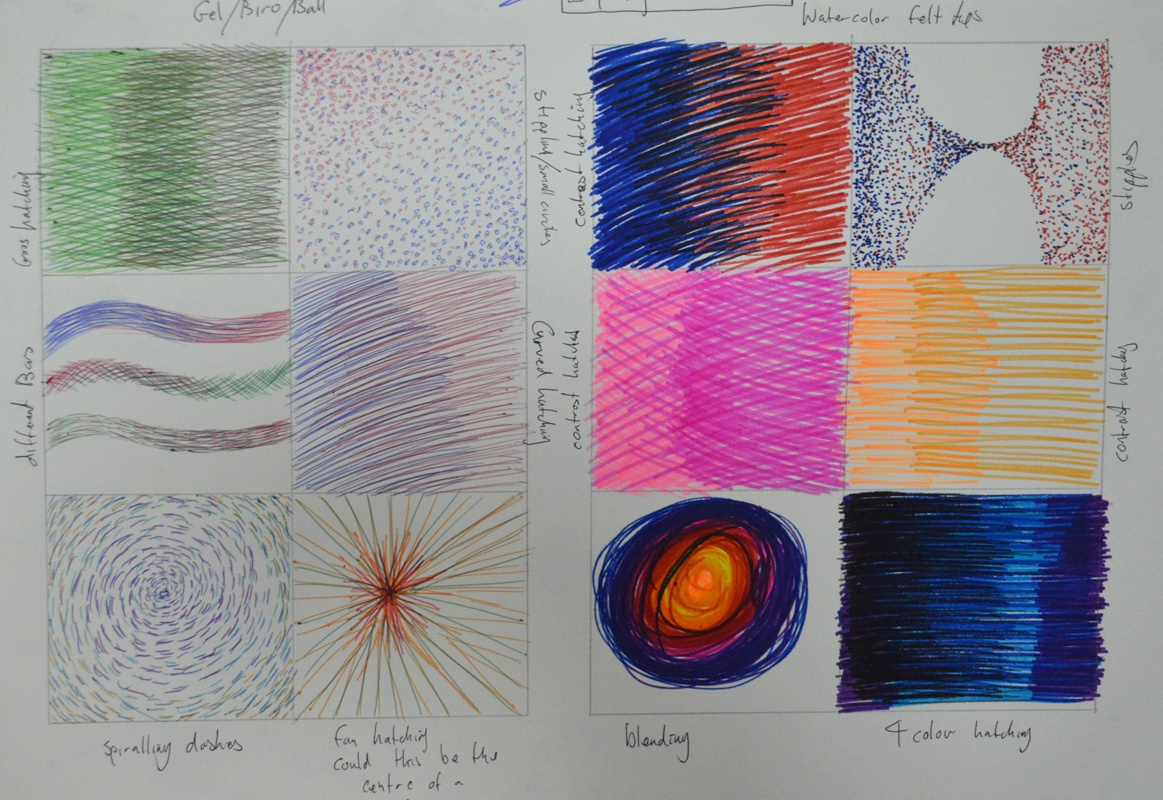 exploring coloured media - Ball Point and Felt Tip