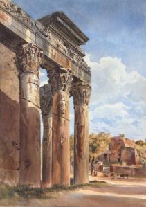 THE TEMPLE OF ANTONINUS AND FAUSTINA, FORUM, ROME - WATERCOLOUR 18 1/4 X 13 INCHES