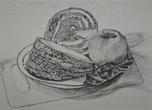 Still Life Group Using Line 1st Drawing
