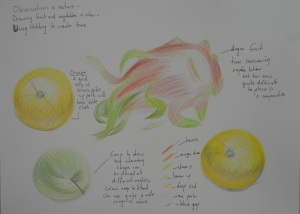 Using Hatching to Create Tone - Orange, apple and dragon fruit