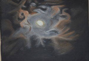 2 - Clouds at Night in Hard Pastel on Black Paper
