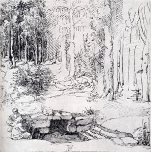 Forest Glade with a Walled Fountain by Which Two Men are Sitting 1505
