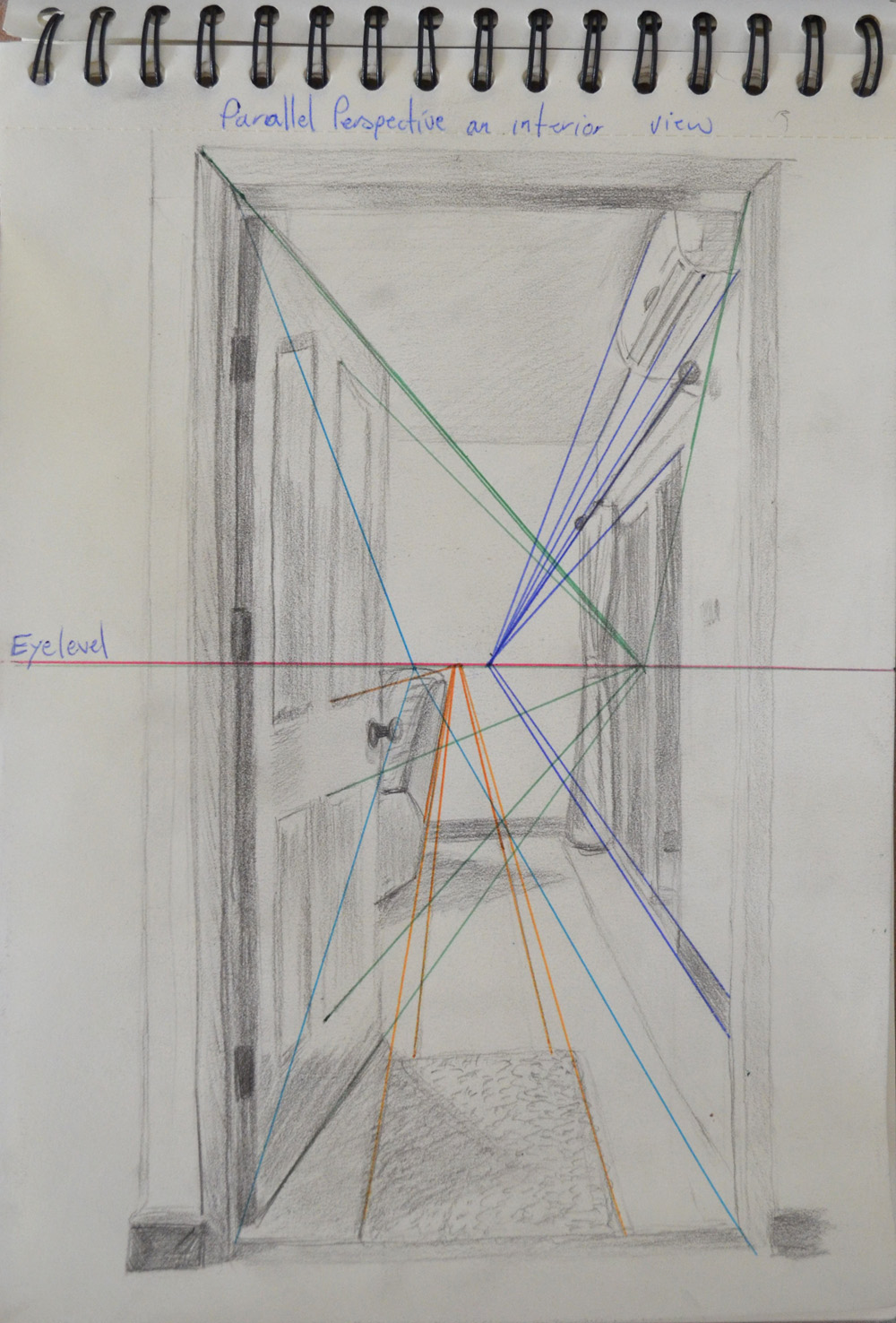 Open door drawing perspective - Parallel Perspective An Interior View With Superimposed Lines