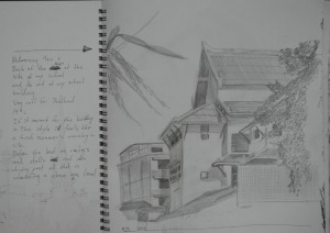 1 - Sketch of School in H pencil w notes