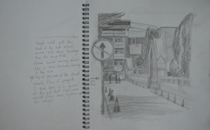 Sketch of Temple Gates in H Pencil w Notes