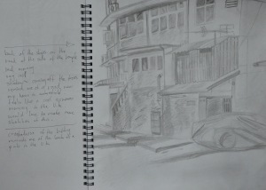 Back of the Shops in H Pencil w Notes