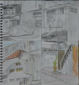10 cm Squares Tonal and Detail Drawings with 3B and Colour Pencils