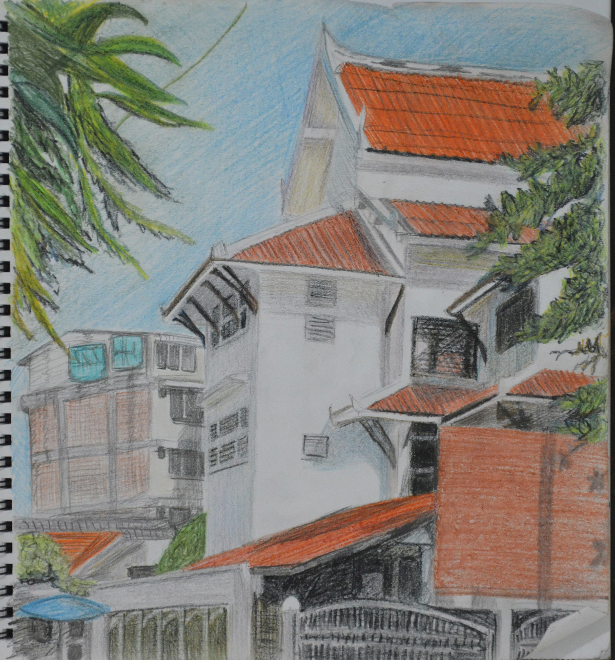 Section of School in 3B and Dry Watercolour Pencils