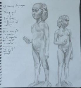 Statue of a Young Girl in 4B pencil