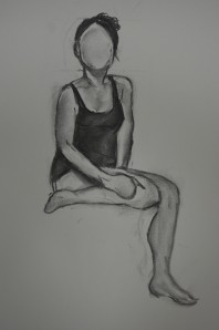 3rd Drawing Sat on Bed 1 Leg Up A2