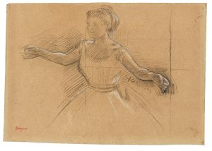 Edgar Degas (1834–1917) Dancer with Arms Outstretched, ca. 1878. Black and white chalk, on tan paper