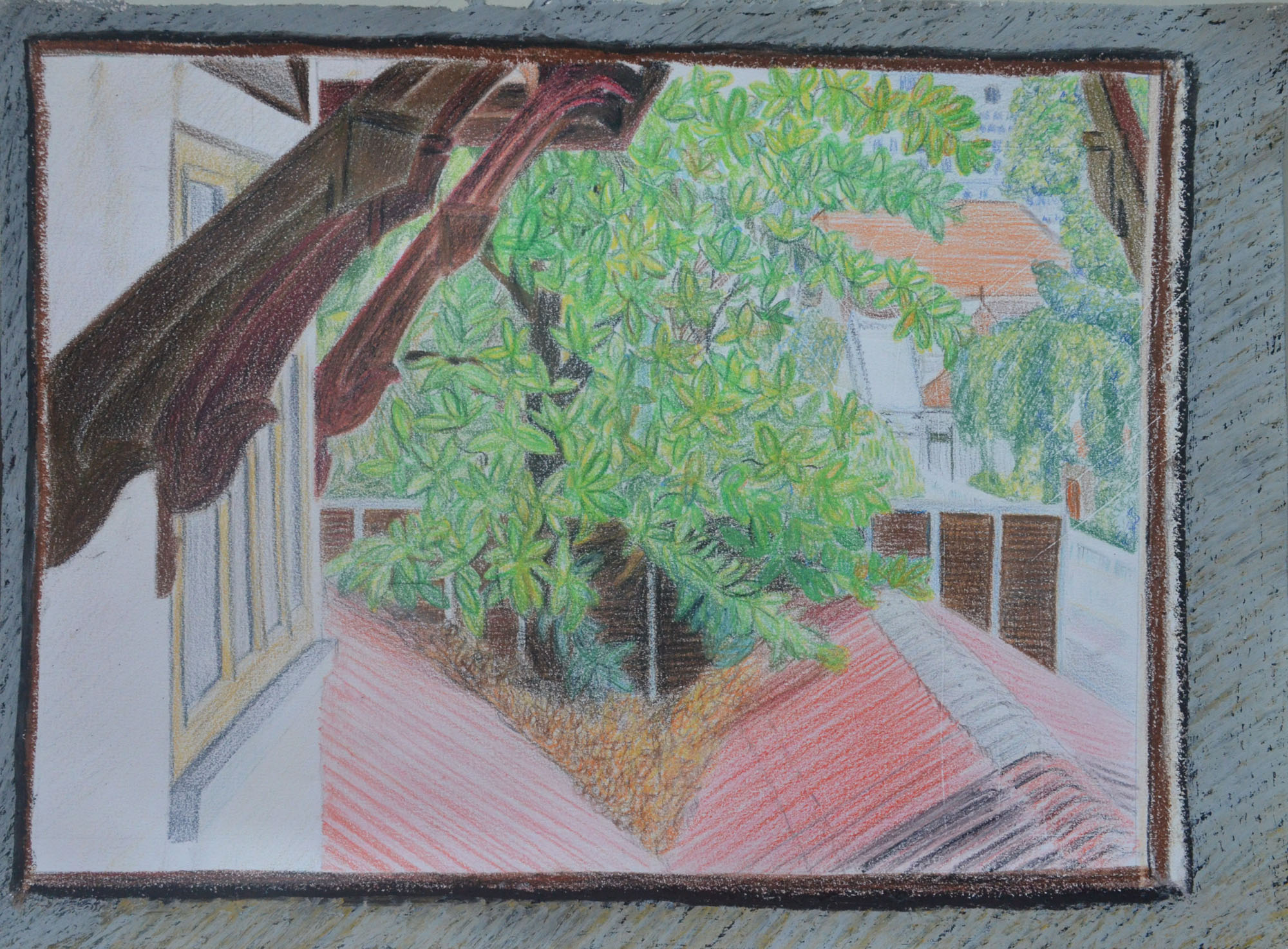 Door pencil drawing - Final Drawing In Dry Watercolour Pencil