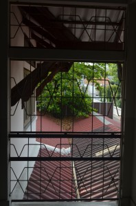 View from second floor window facing temple
