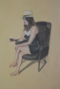 1 - Sitting, Conte, Charcoal, Conte Pencil