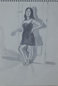 2nd Pose 2 - Using Watersoluble Pencils for the first time