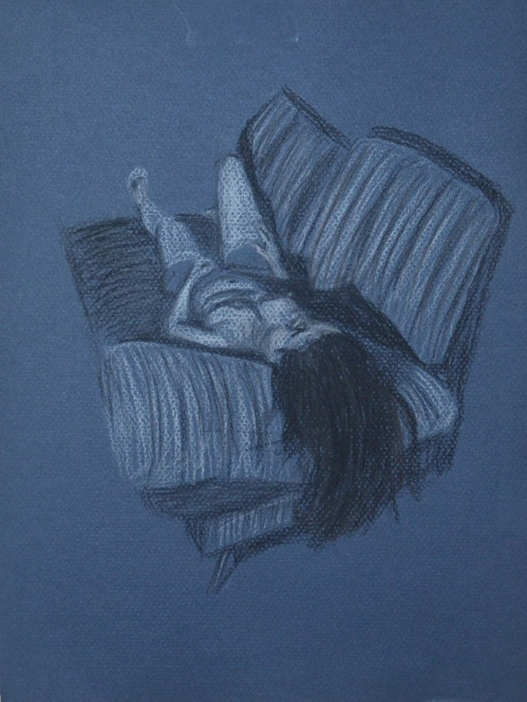 3 - Lying Down - Conte Stick and Compressed Charcoal