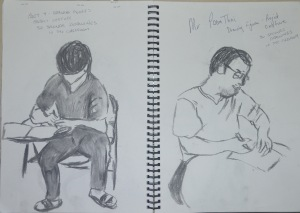 1 - Students Writing in Charcoal