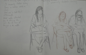 2 - Sketch of 3 Students over outline