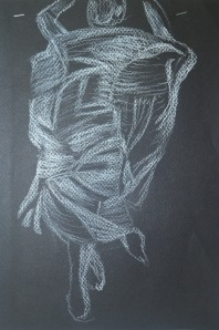 2 - White Pastel on Black paper