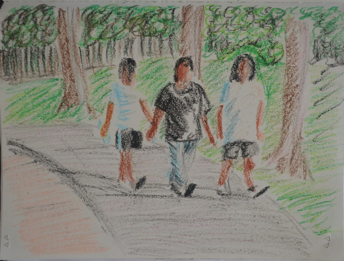 4 - Walking Women in Oil Pastel