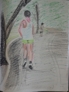 5 - Running Man in Oil Pastel