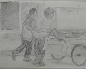 7 - Follow up Drawing of Man and a Woman Pushing Stall