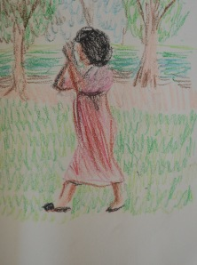 7 - Guy in Womens dress walking through Park Praying in Oil Pastel