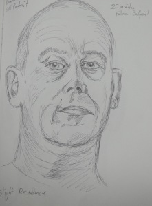1 - First Self Portrait in Ballpoint - with hair