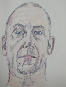 2 - Second Self Portrait Ballpoint and Oil Pastel