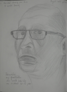 4th 5 minute Sketch with Glasses on