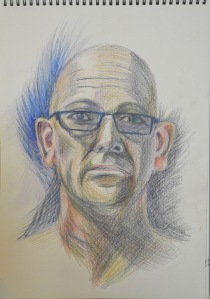 5 - Fifth Self Portrait in Watercolour Pencil