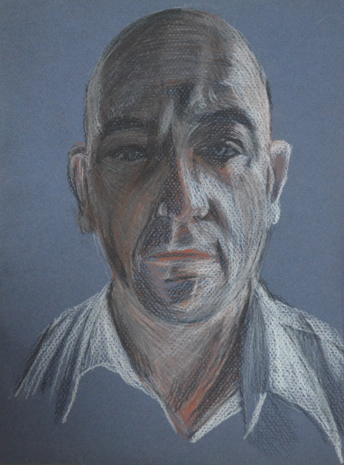 8 - Eigth Self Portrait in Conte and Chinese White Pencil