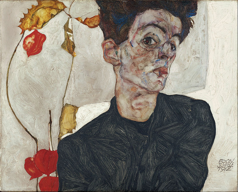 Egon Schiele Self Portrait with Physalis 1912