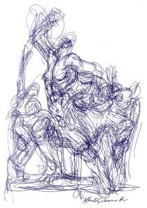 Alberto Giacometti, ballpoint on paper. Giacometti House, Paris