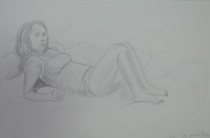 Drawing 1 - Laying Down - 3B on A3