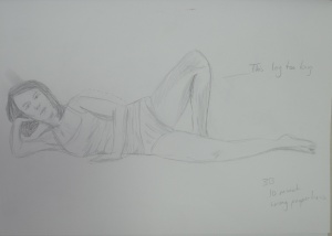Drawing 2 - Lying Down - 3B on A3