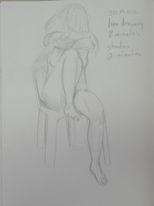 Drawing 25 - Sitting Down - 3B Pencil