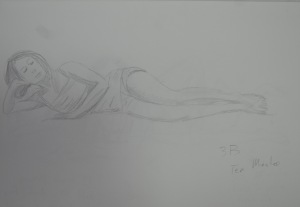 Drawing 3 - Lying Down - 3B on A3