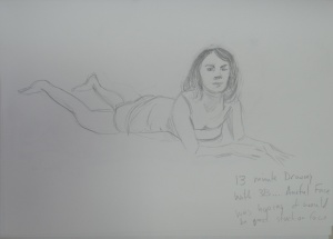 Drawing 4 - Lying Down - 3B on A3