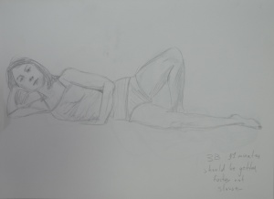 Drawing 5 - Lying Down - 3B on A3