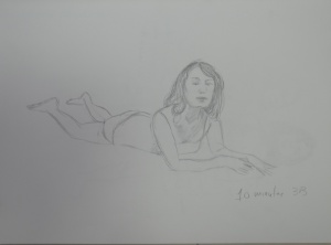 Drawing 7 - Lying Down - 3B on A3