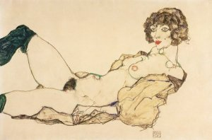 Egon Schiele Reclining Nude in Green Stockings