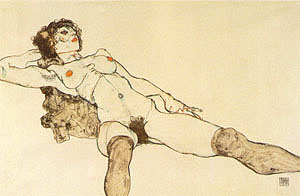 Egon Schiele Reclining Woman with Legs Apart 1914