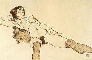 Egon Schiele Reclining Woman with Legs Apart 1914