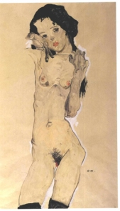 Egon Schiele Standing Female Nude with Black Hair 1910