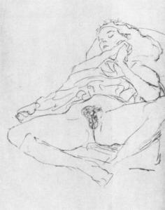 Klimt Seated Semi-Nude Reclining